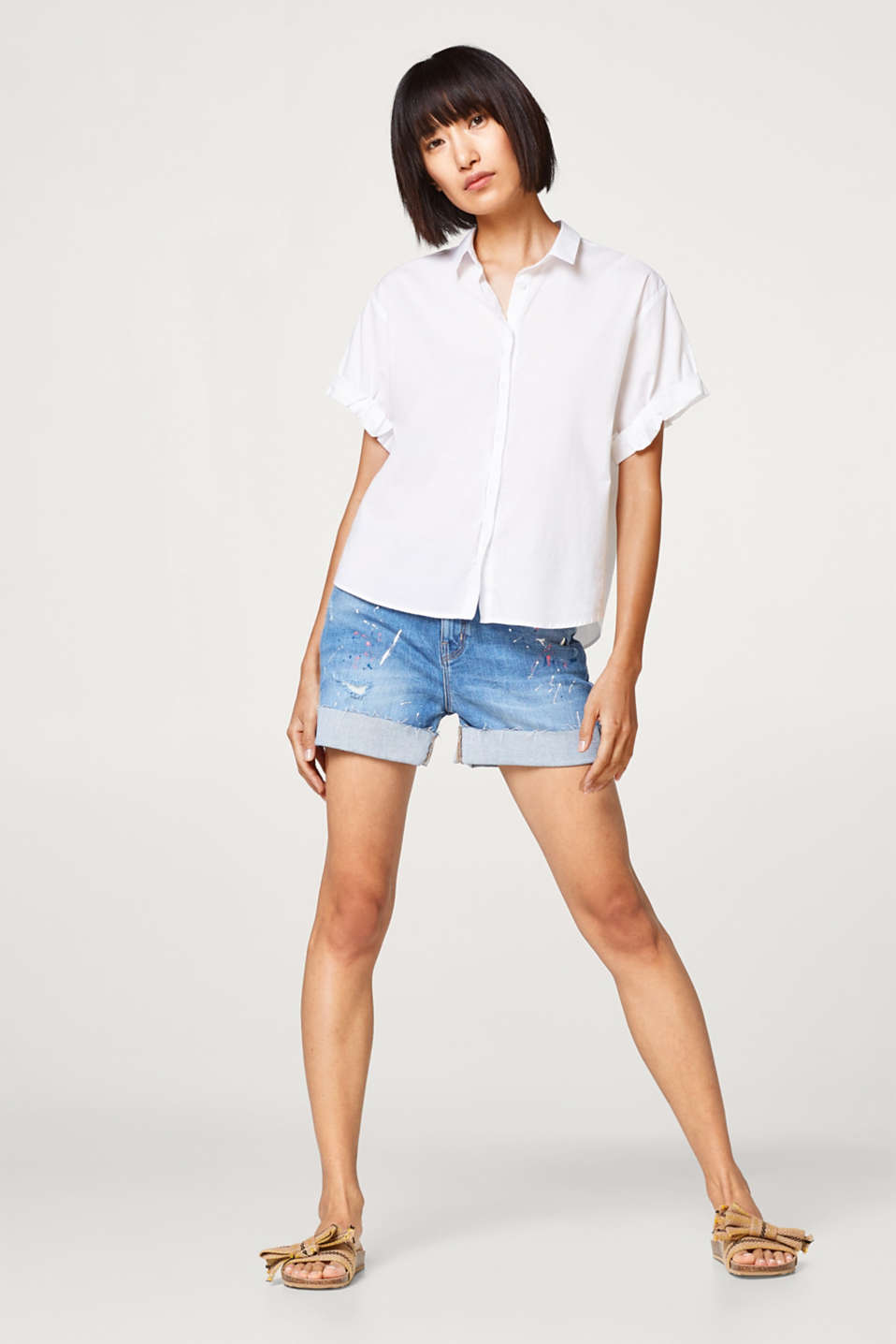 Airy stretch cotton blouse with new details