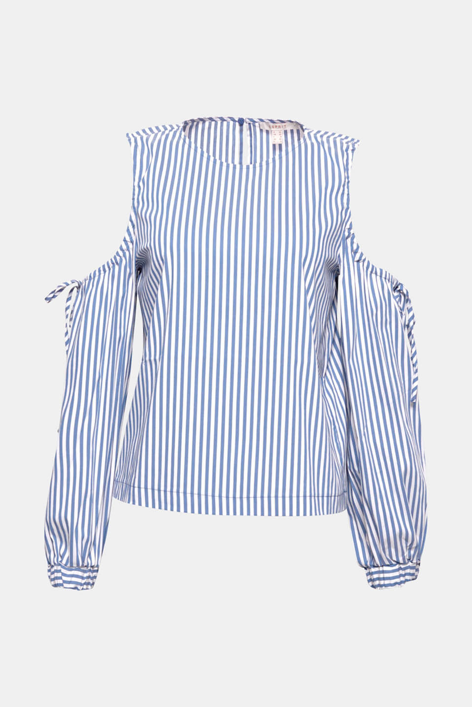 This cold shoulder blouse made of blended cotton with a fashionable striped pattern exudes pure freshness!