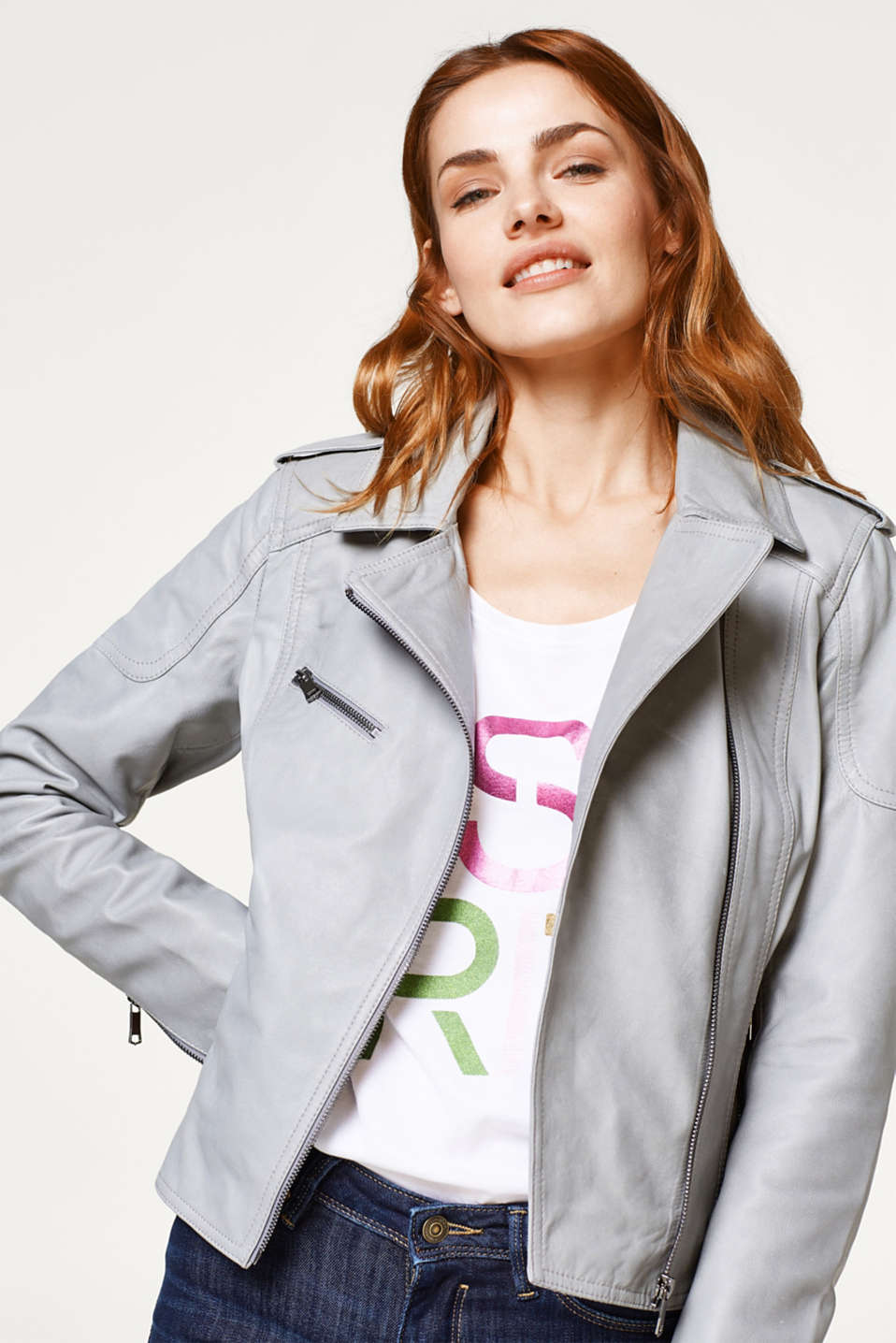 Esprit - Fitted biker jacket in soft sheepskin