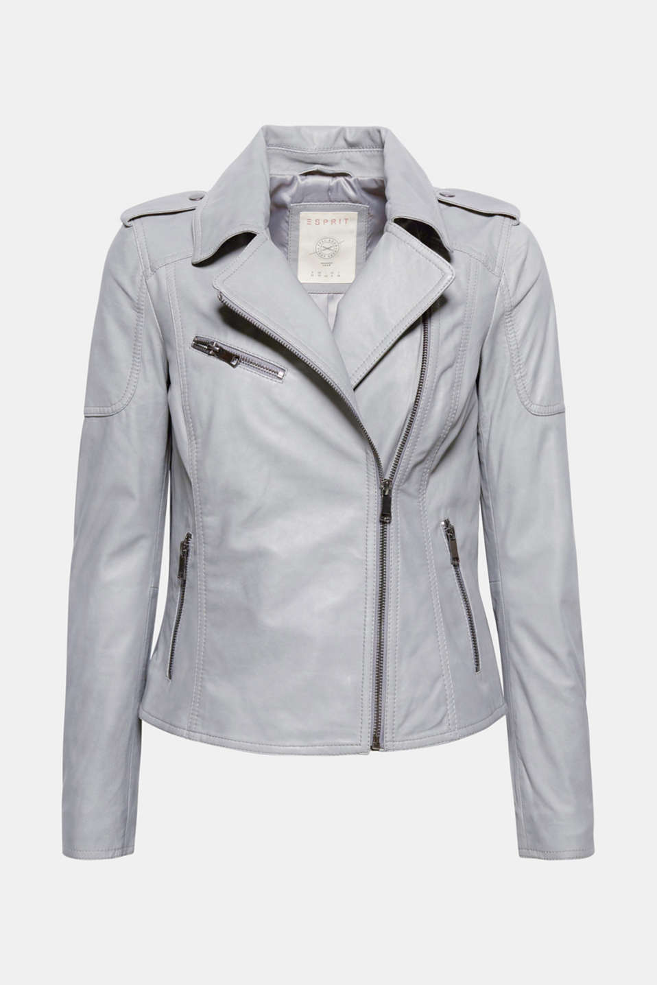 The sensationally soft leather makes this biker jacket in a stylish shade of grey an absolute must-have!