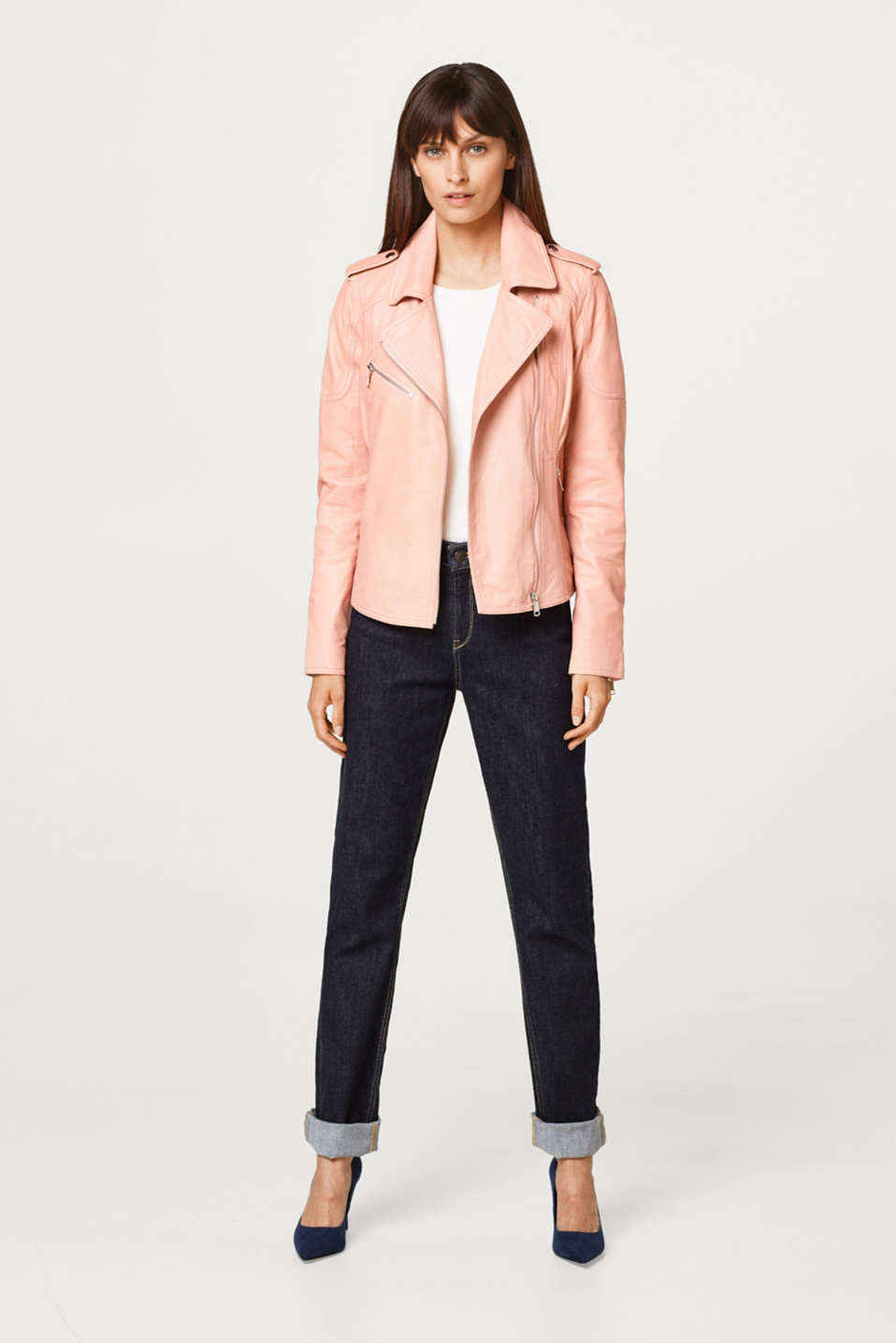 Fitted biker jacket in soft sheepskin