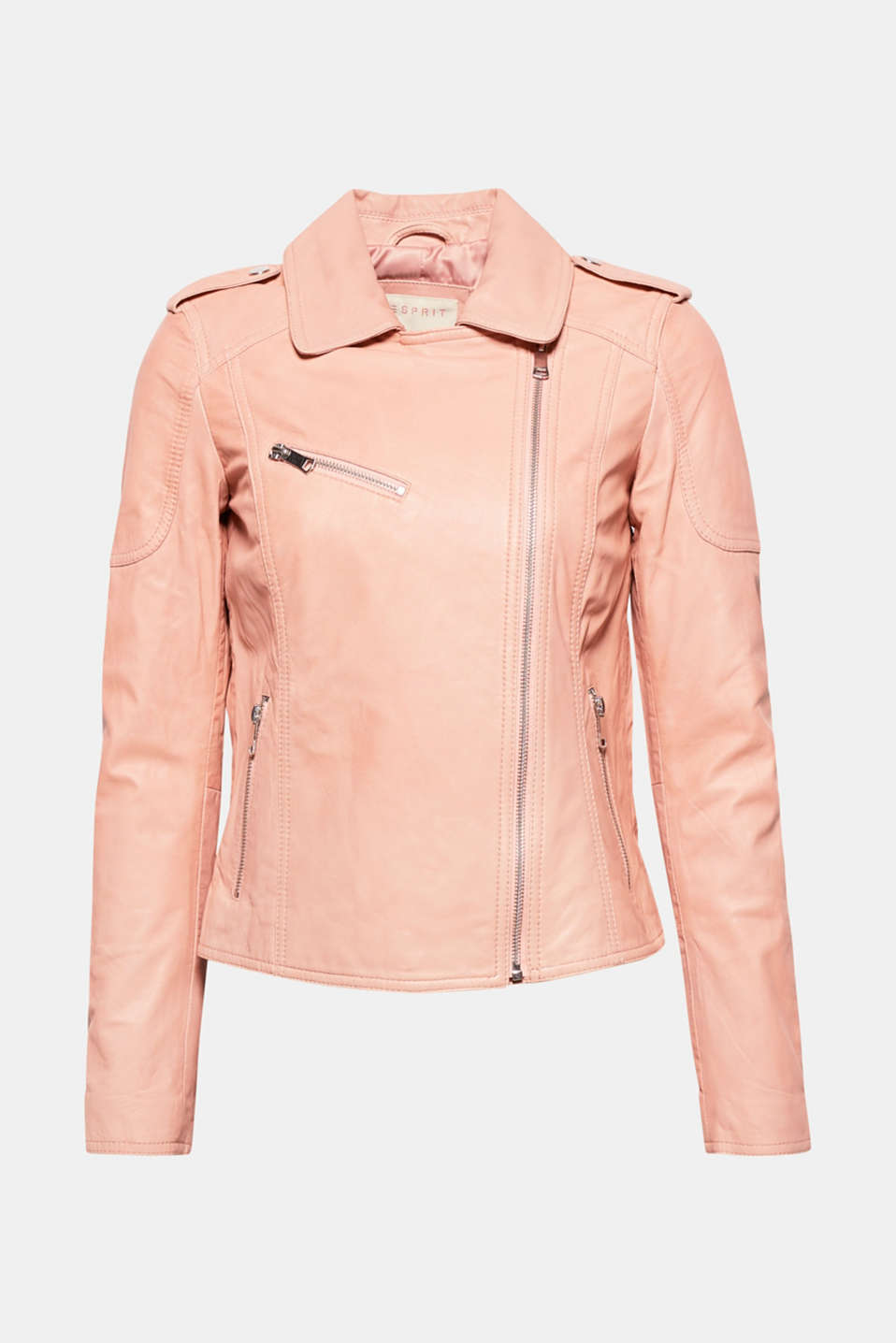The super-soft leather in delicate trend colours make this biker jacket a must-have!