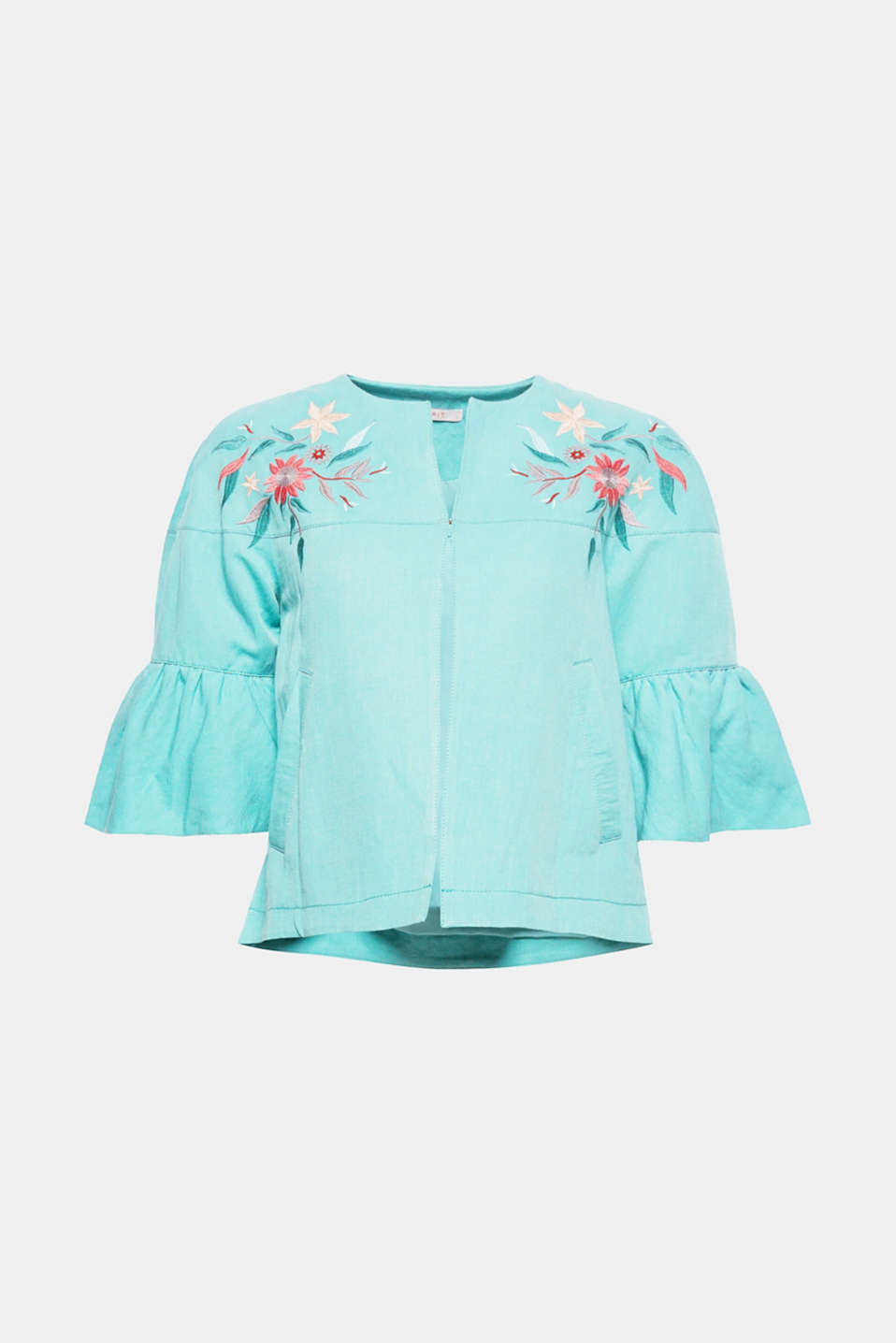Full-on flower power fashion: the colourful floral embroidery and three-quarter length flounce sleeves make this flared jacket something special!
