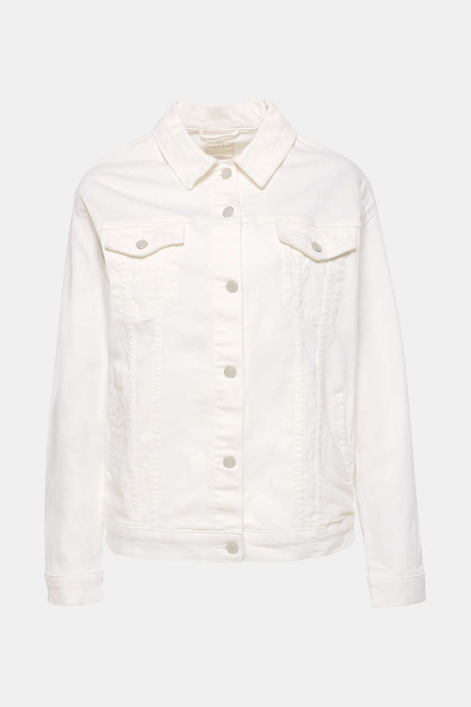The casual oversized design and subtle vintage effects give this stretch denim jacket in summery off-white its coolness!