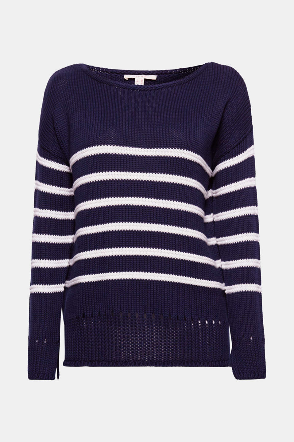 A favourite jumper: soft knitted cotton meets up with nautical stripes and an airy open-work pattern! We like!