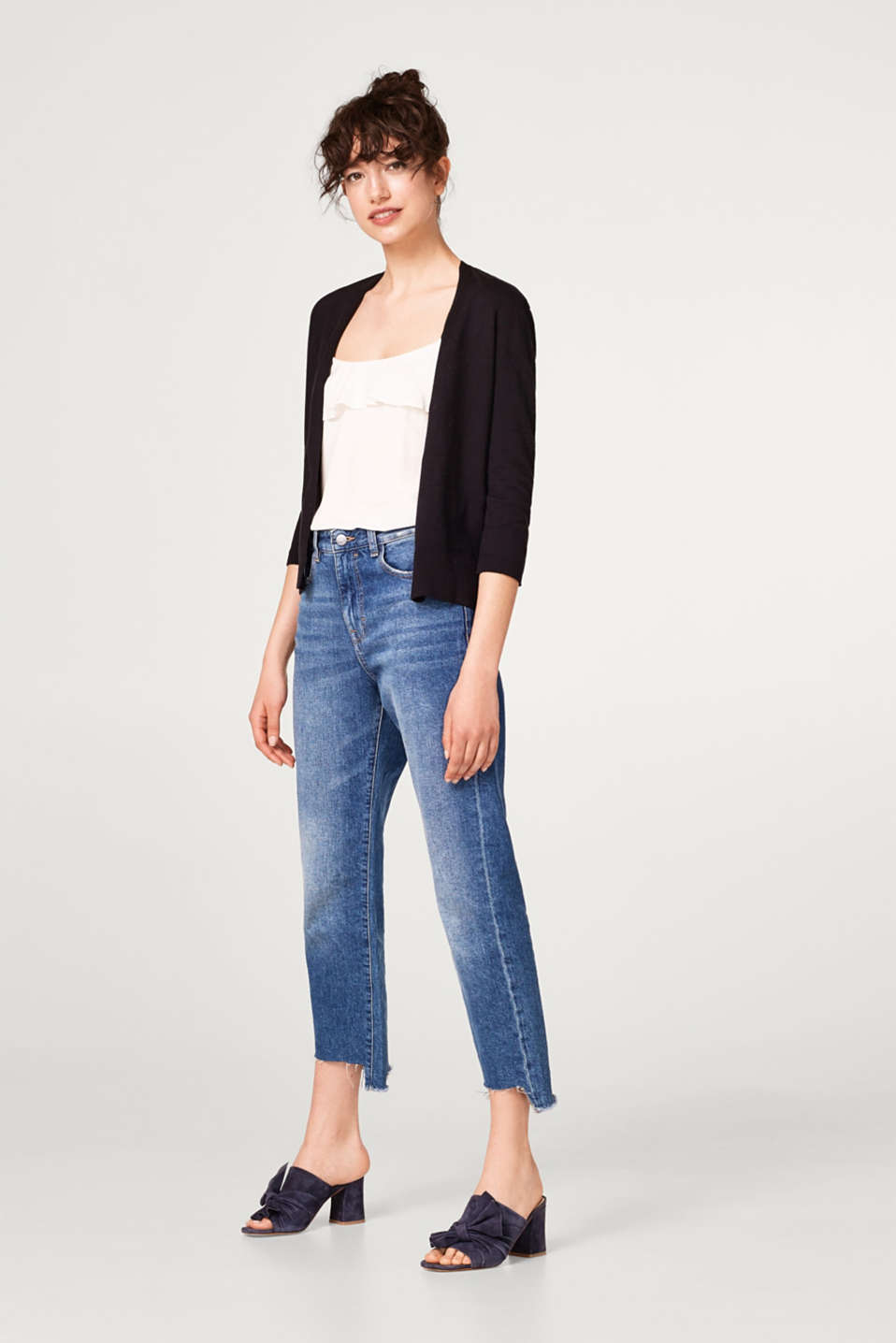 Open-fronted cotton cardigan