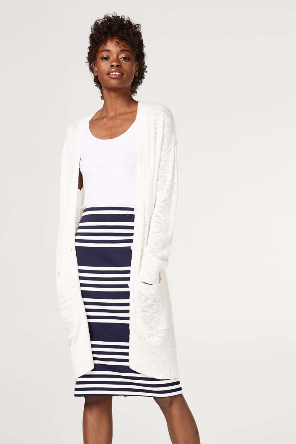 Esprit - Long cardigan made of shimmering textured yarn