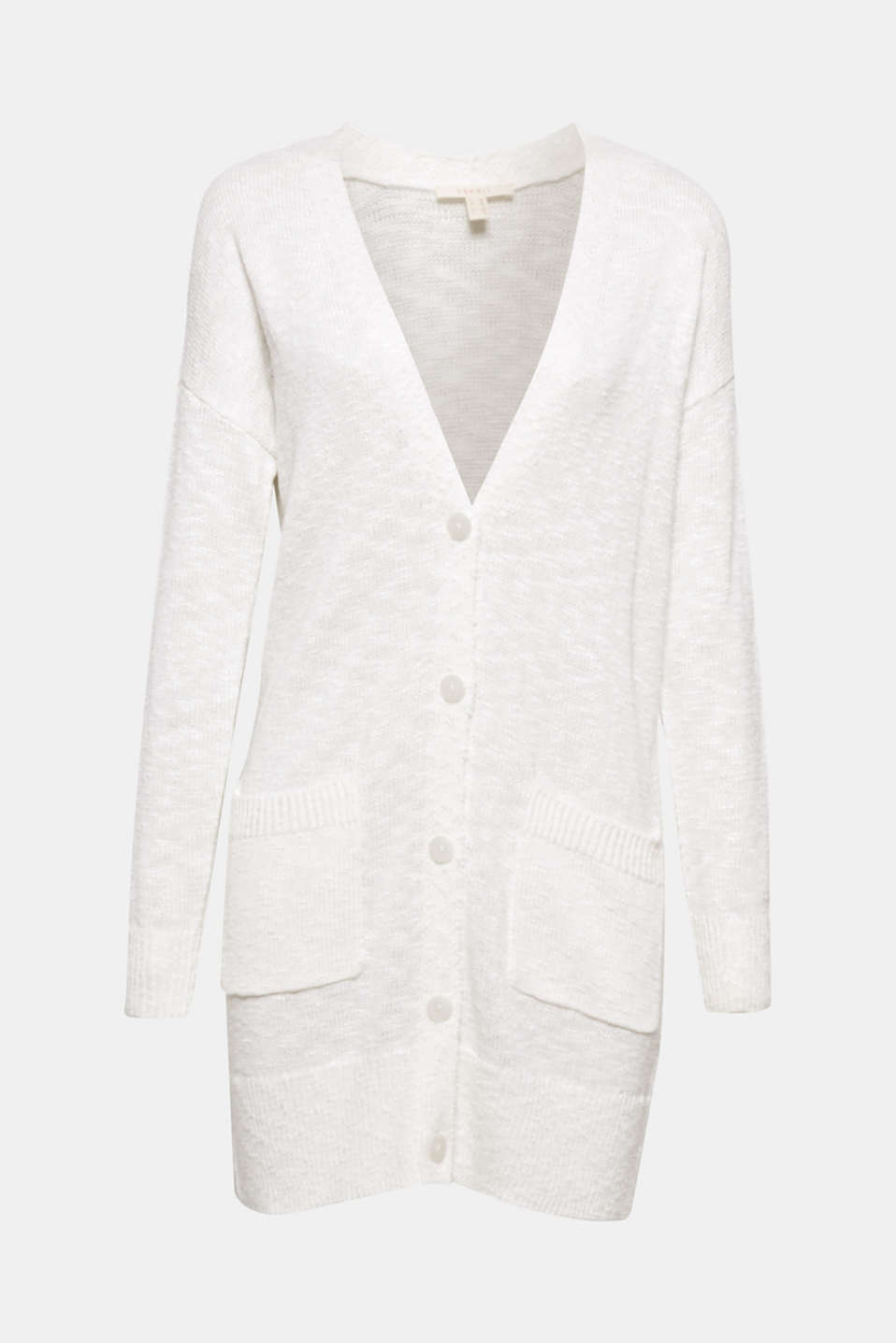 Your top separate for spring: This long cardigan in textured yarn with shimmering effects goes with sporty and chic looks!