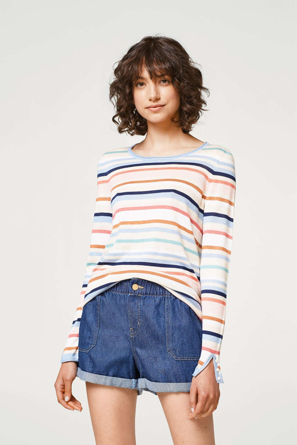 Esprit - Soft jumper with multicoloured stripes