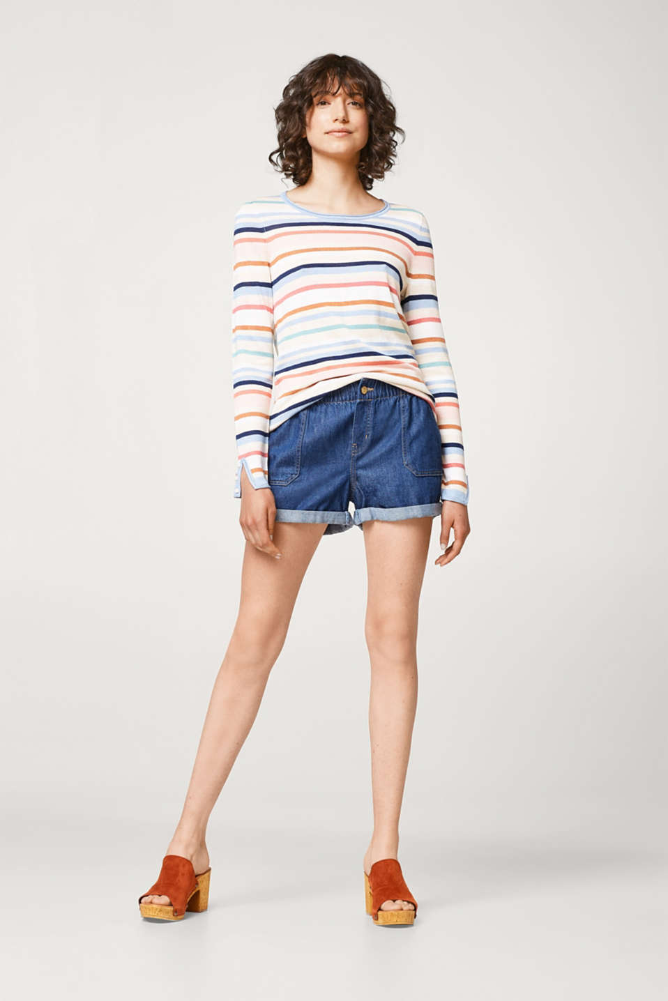 Soft jumper with multicoloured stripes