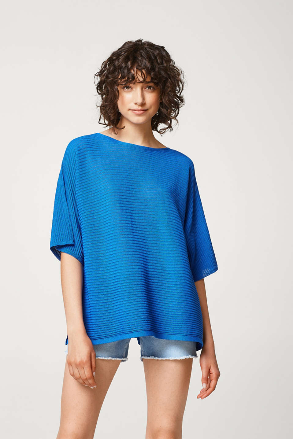 Esprit - Textured jumper with side slits