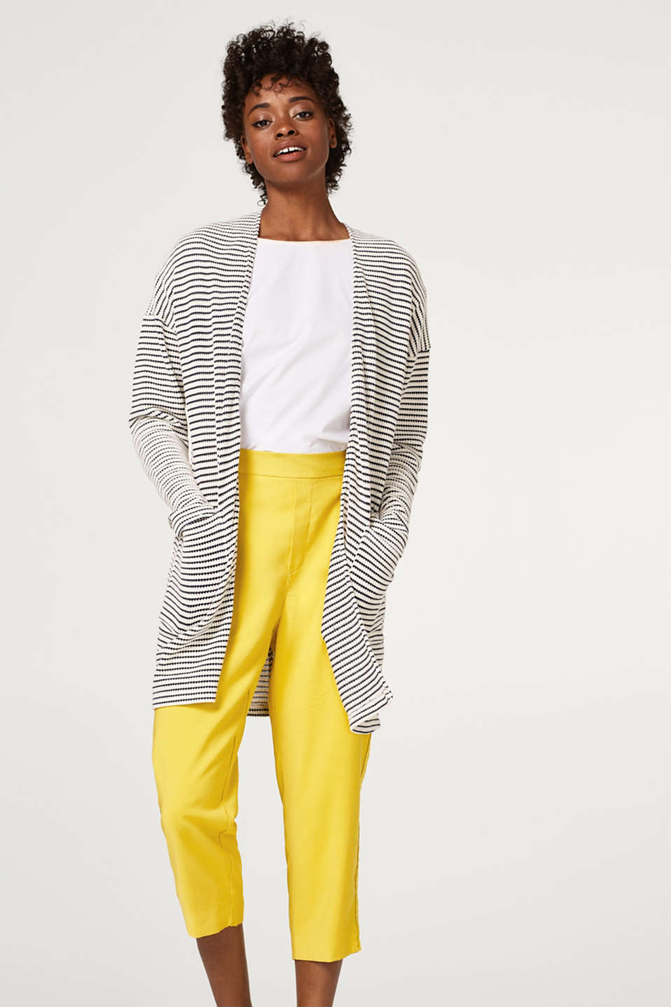 Esprit - Long cardigan with textured stripes