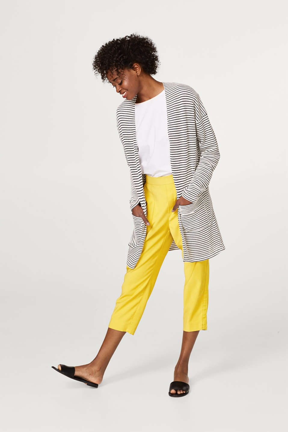 Long cardigan with textured stripes