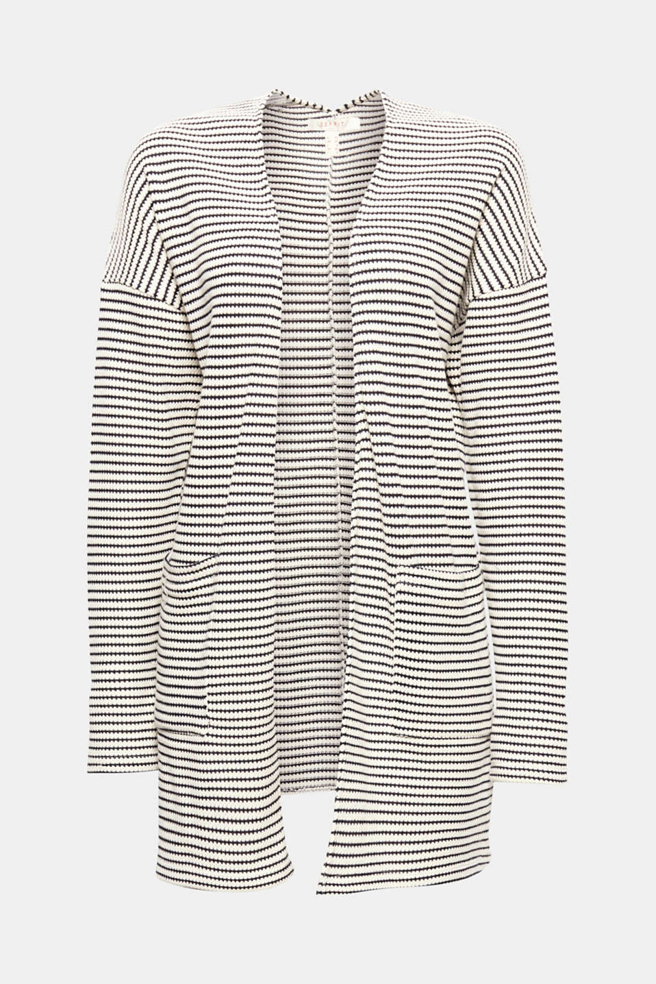 This lightweight, open-fronted long cardigan with textured stripes and patch pockets is casual, comfortable and simple!