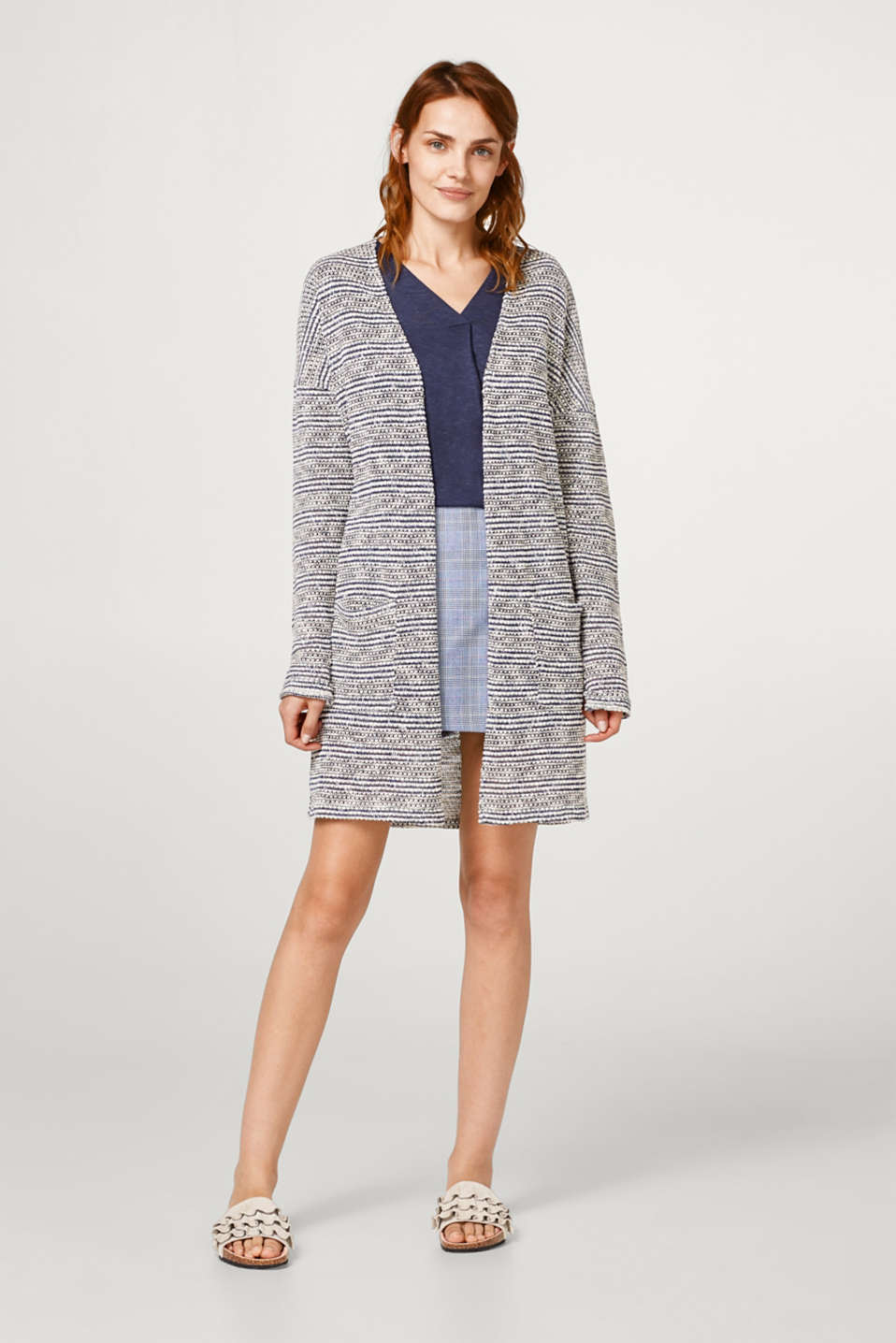 Long cardigan with a textured pattern
