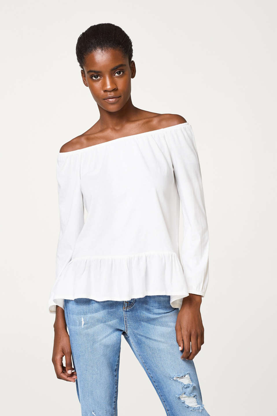 Esprit - Soft Carmen top with a flounce hem