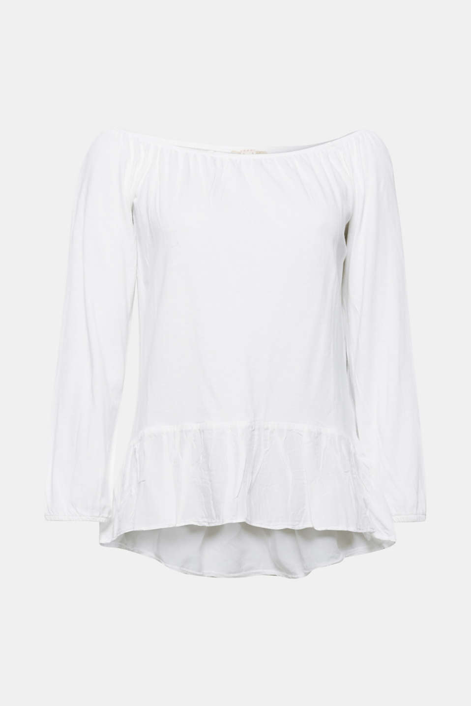 The sexy off-the-shoulder neckline and attached fabric flounce on the lower hem make this top a great, feminine eye-catcher.