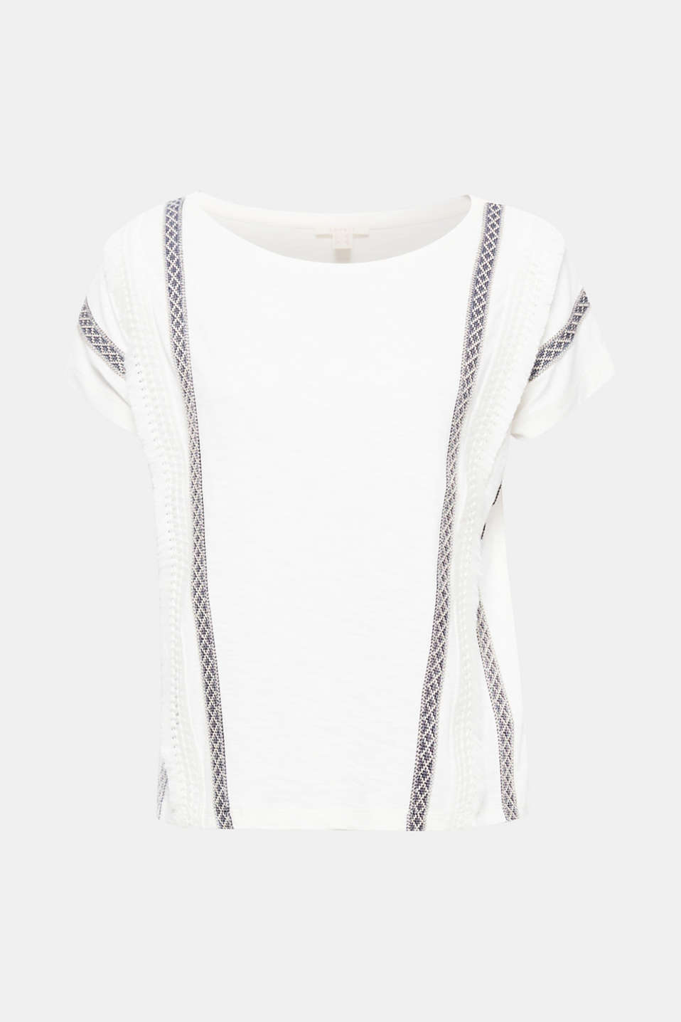 This short, boxy T-shirt in textured slub jersey fabric with an appliquéd border will draw eyes to you!