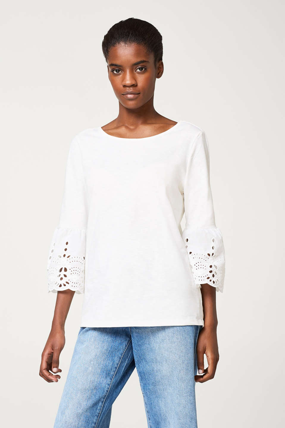 Esprit - Slub T-shirt with flared broderie anglaise sleeves