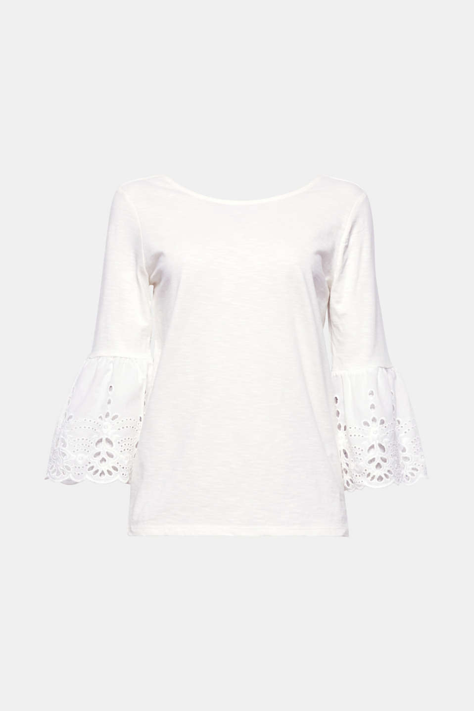 Embroidered trumpet sleeves give this slub T-shirt its pretty, trendy look!