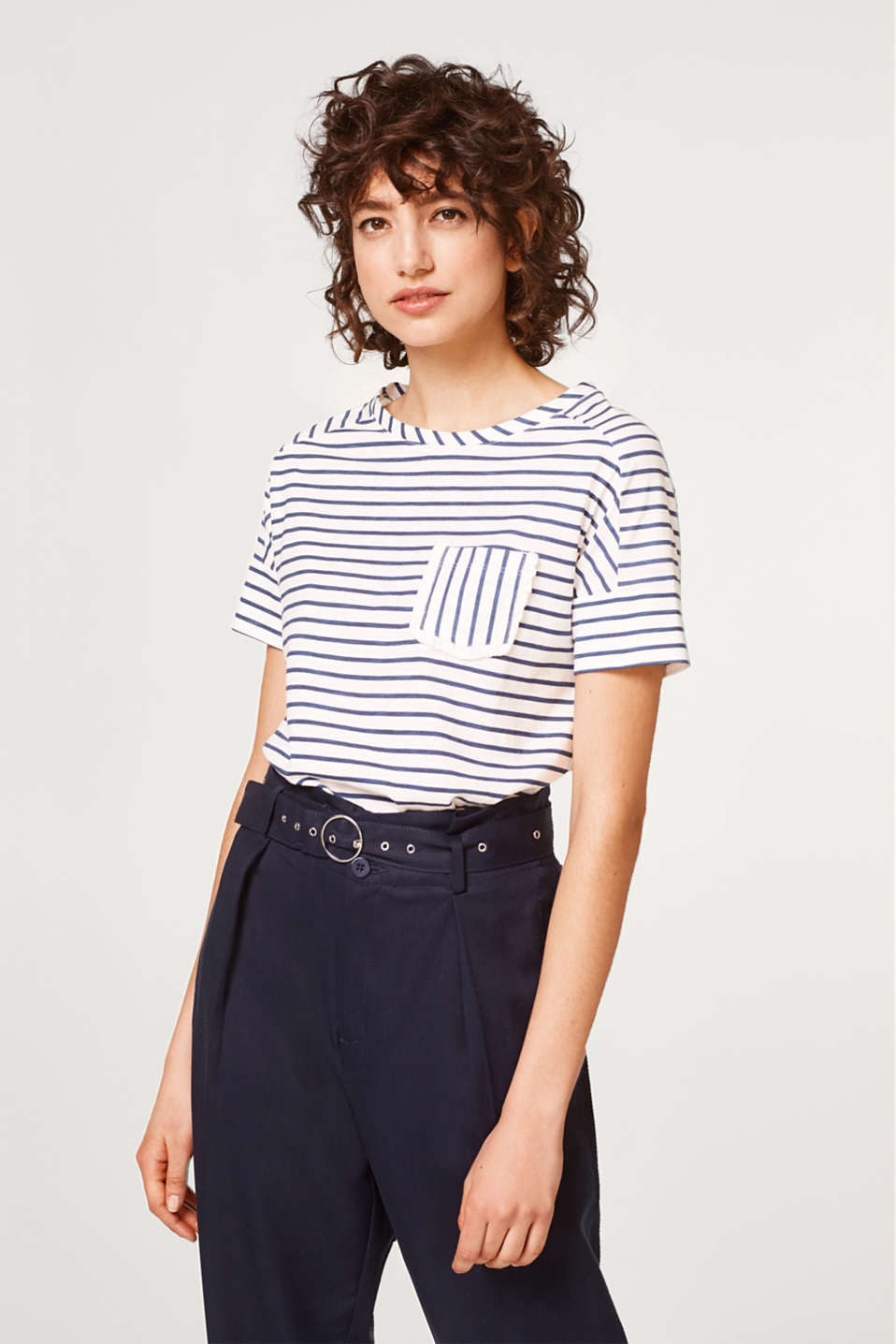 Esprit - Boxy T-shirt with stripes and frills, 100% cotton