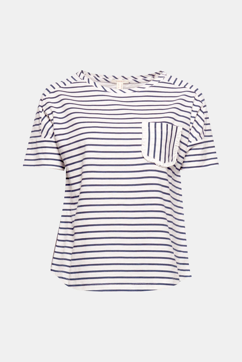 Sporty stripes meet playful frills: on this textured slub top in a slightly boxy shape with an embellished patch breast pocket!