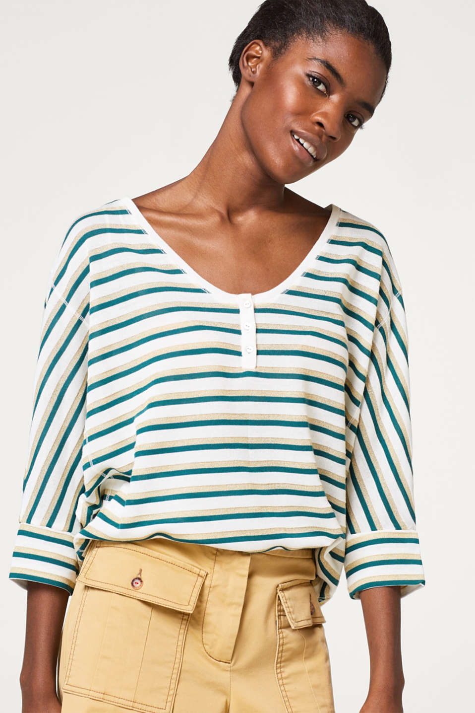 Esprit - Batwing top with glittering stripes