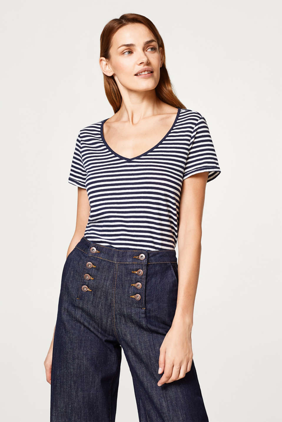 Esprit - Soft, blended linen T-shirt in a striped look