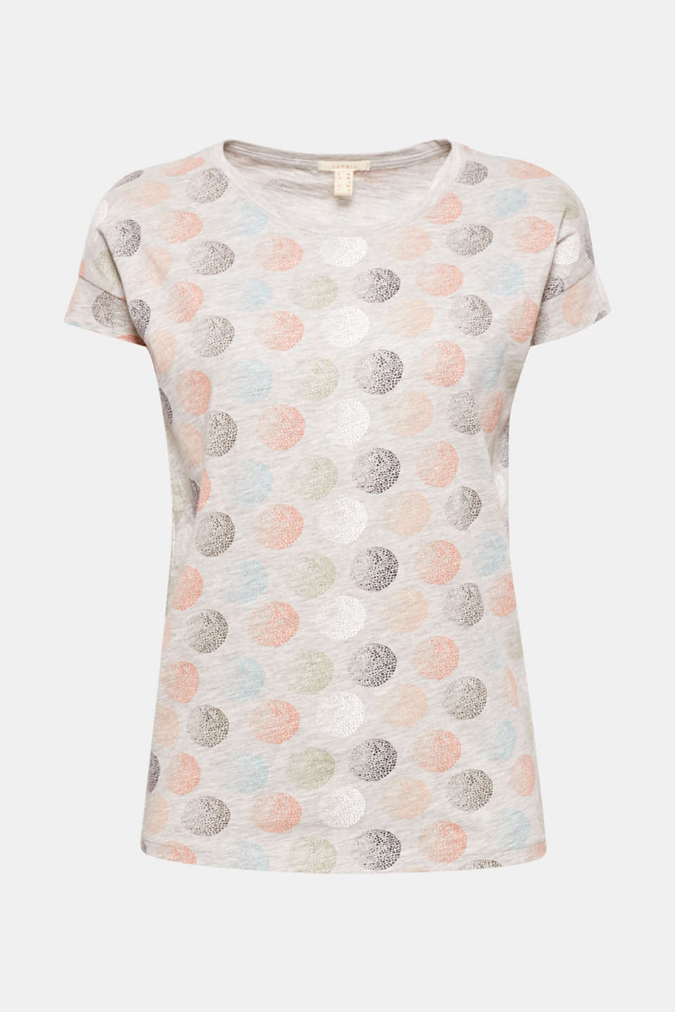 Bright polka dots in a graduated look adorn this melange slub T-shirt with a loose cut and fashionable sleeve solution!