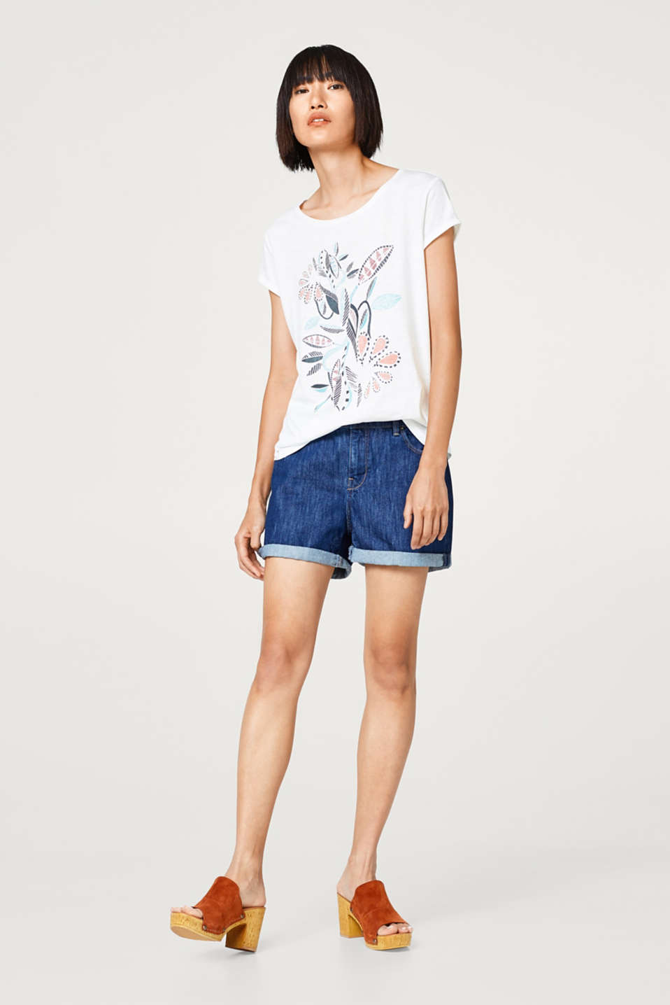 Cotton T-shirt with floral artwork