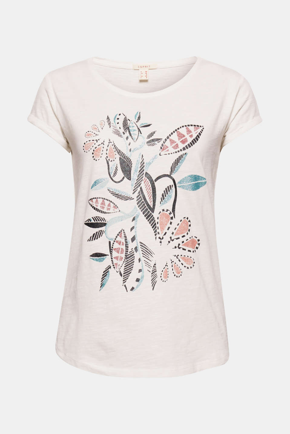 A radiant summer highlight! This melange jersey t-shirt stands out with its artistic floral print on the front.