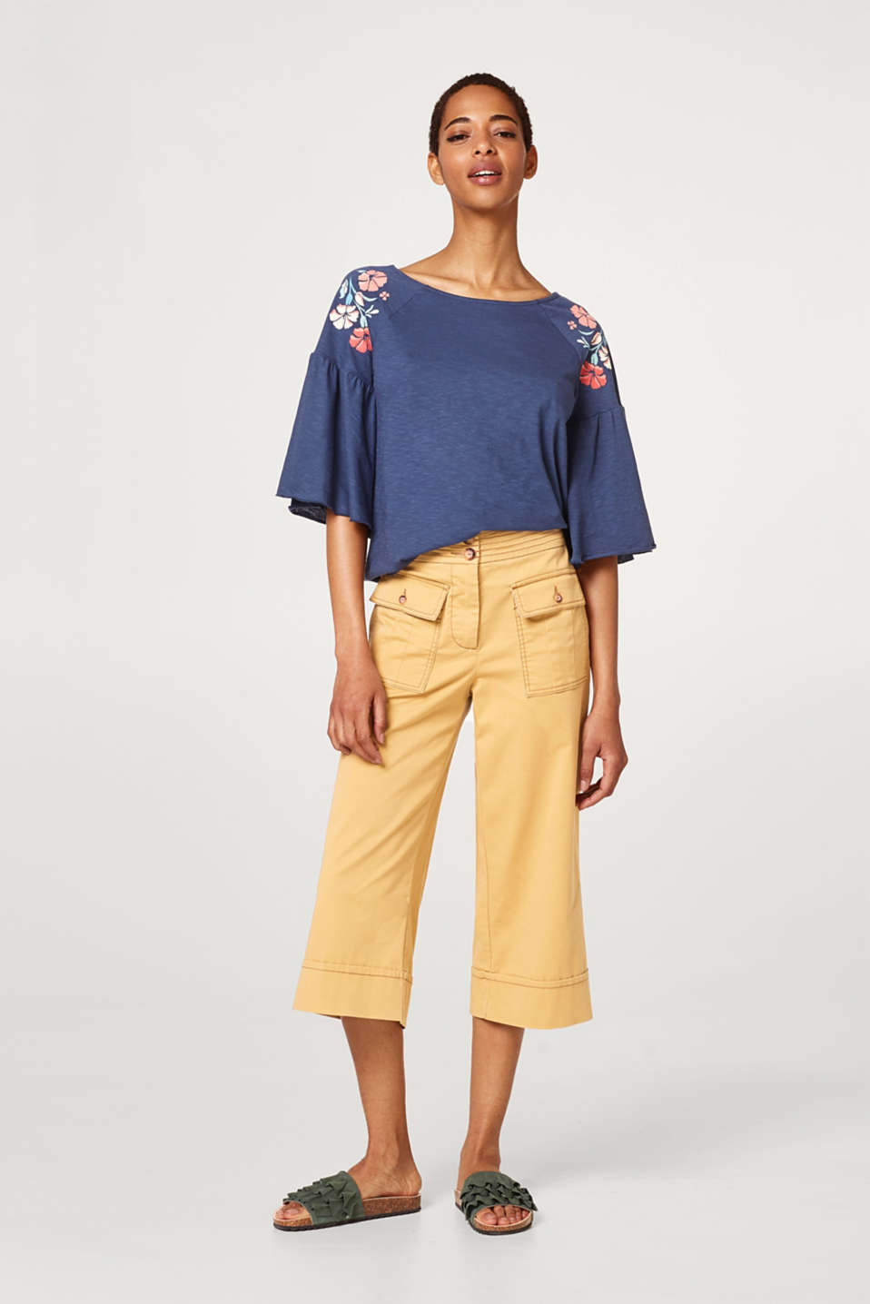 Silky slub top with batwing sleeves