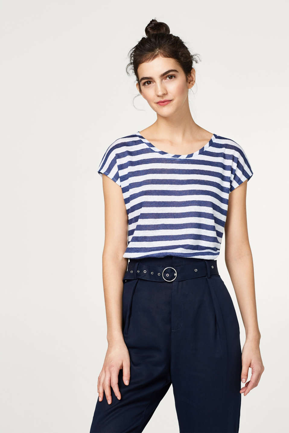 Esprit - 100% linen: Lightweight, striped T-shirt