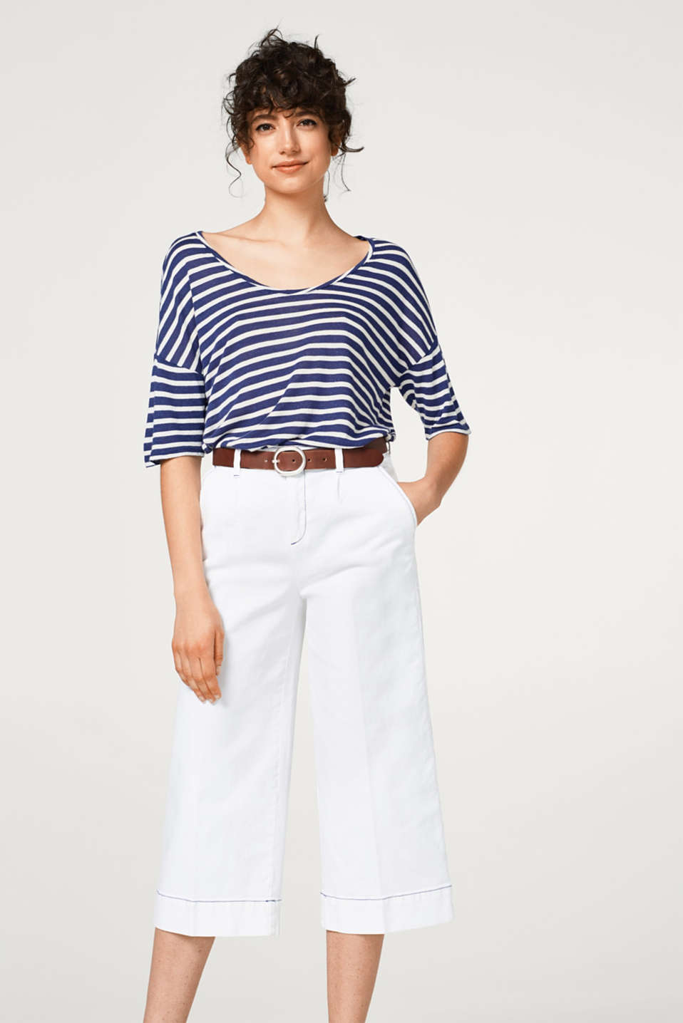 Esprit - Striped T-shirt with linen and a soft, cool texture