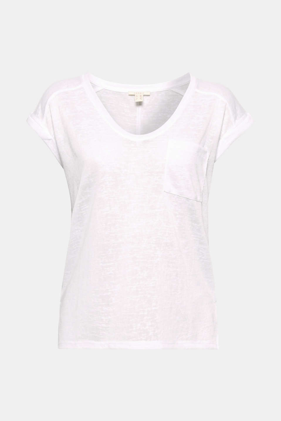 This casual T-shirt gets a particularly exciting look from the semi-sheer slub texture.
