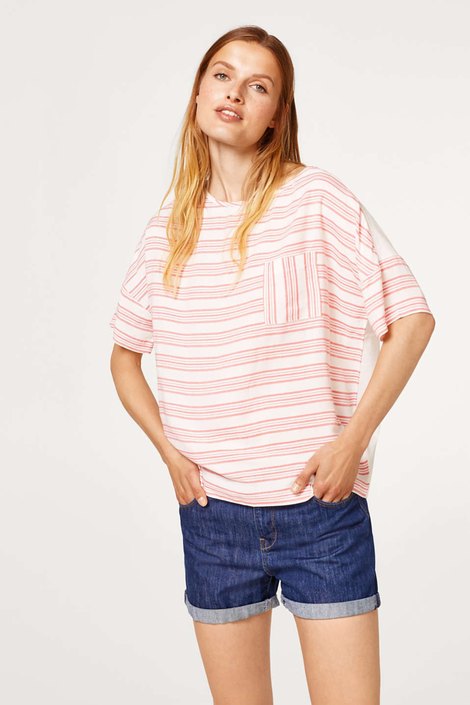Esprit - Striped blouse top in a mix of materials