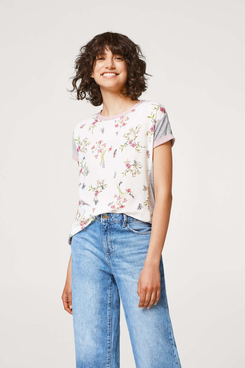Esprit - Material mix top with a floral print