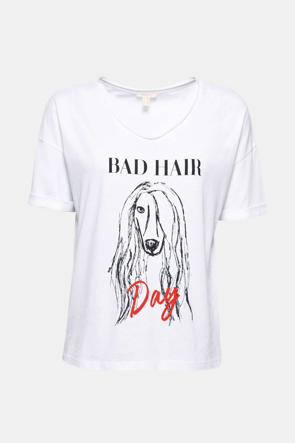 Gives you and your mates something to chuckle about: silky t-shirt with an original, Bad Hair Day print!