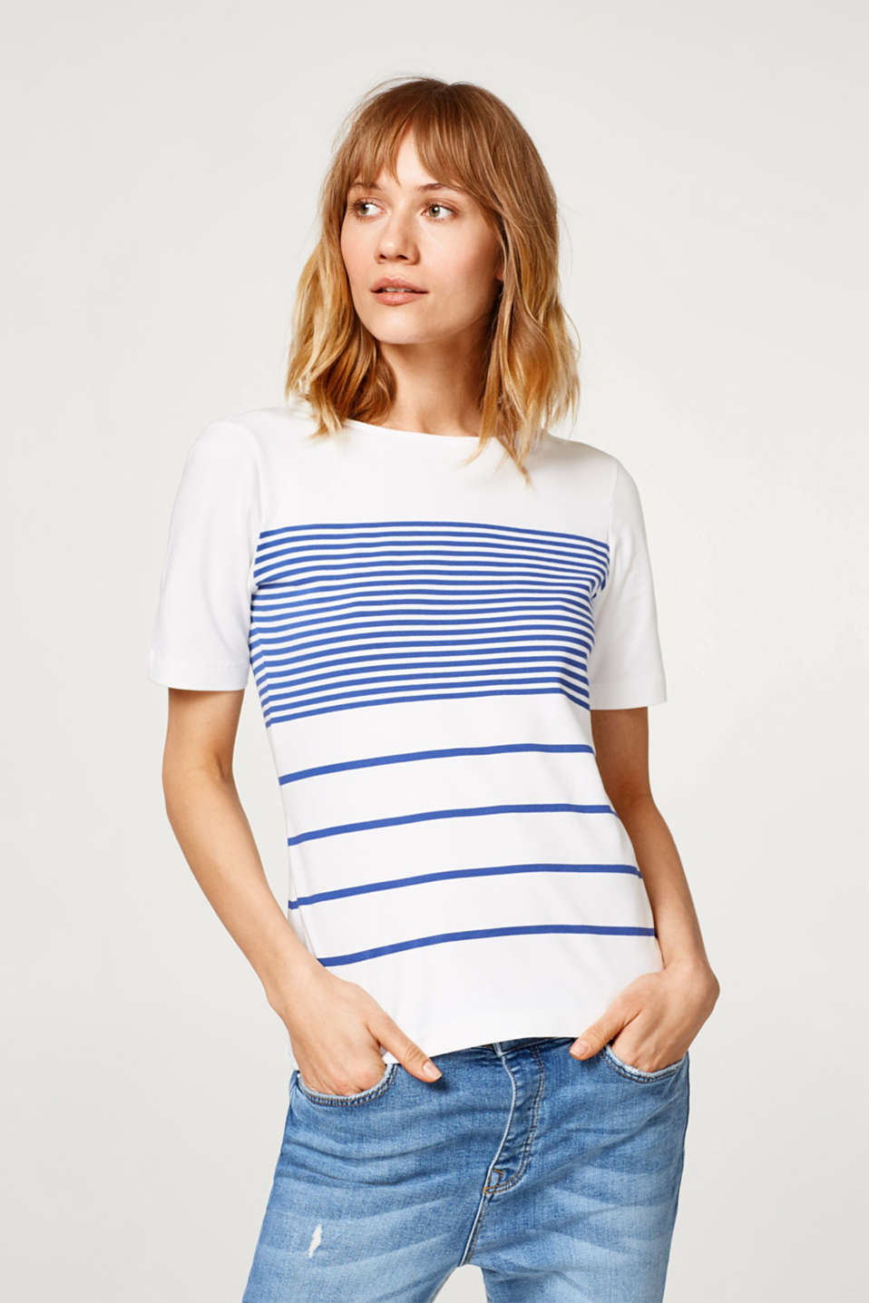 Esprit - Stretch cotton tee with a mixed stripe pattern