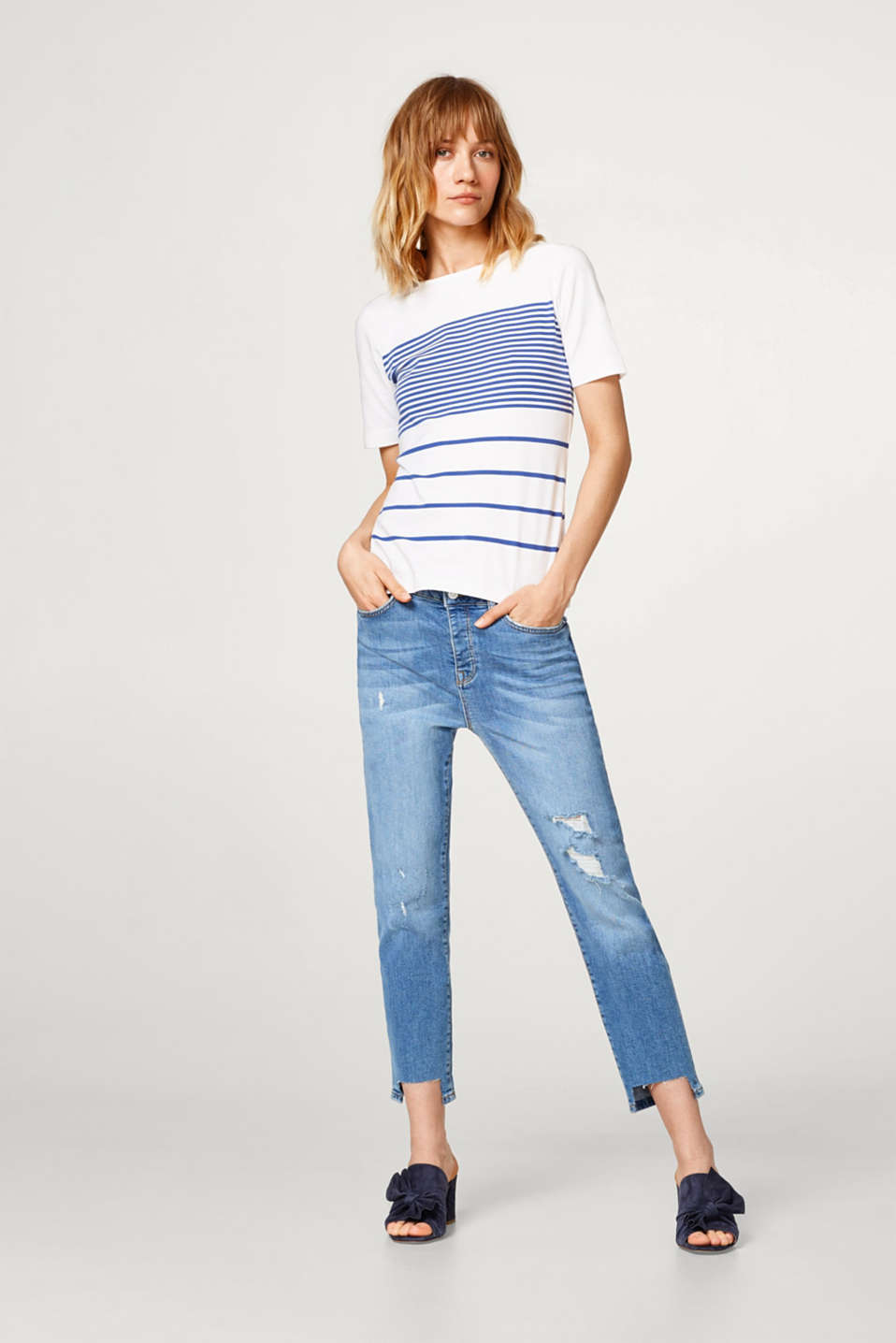 Stretch cotton tee with a mixed stripe pattern