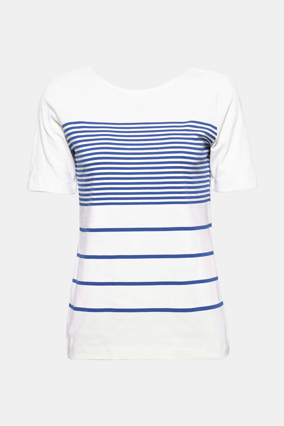 The brand new stripe combo gives this fitted stretch T-shirt with a deep, round back neckline an original, innovative look!
