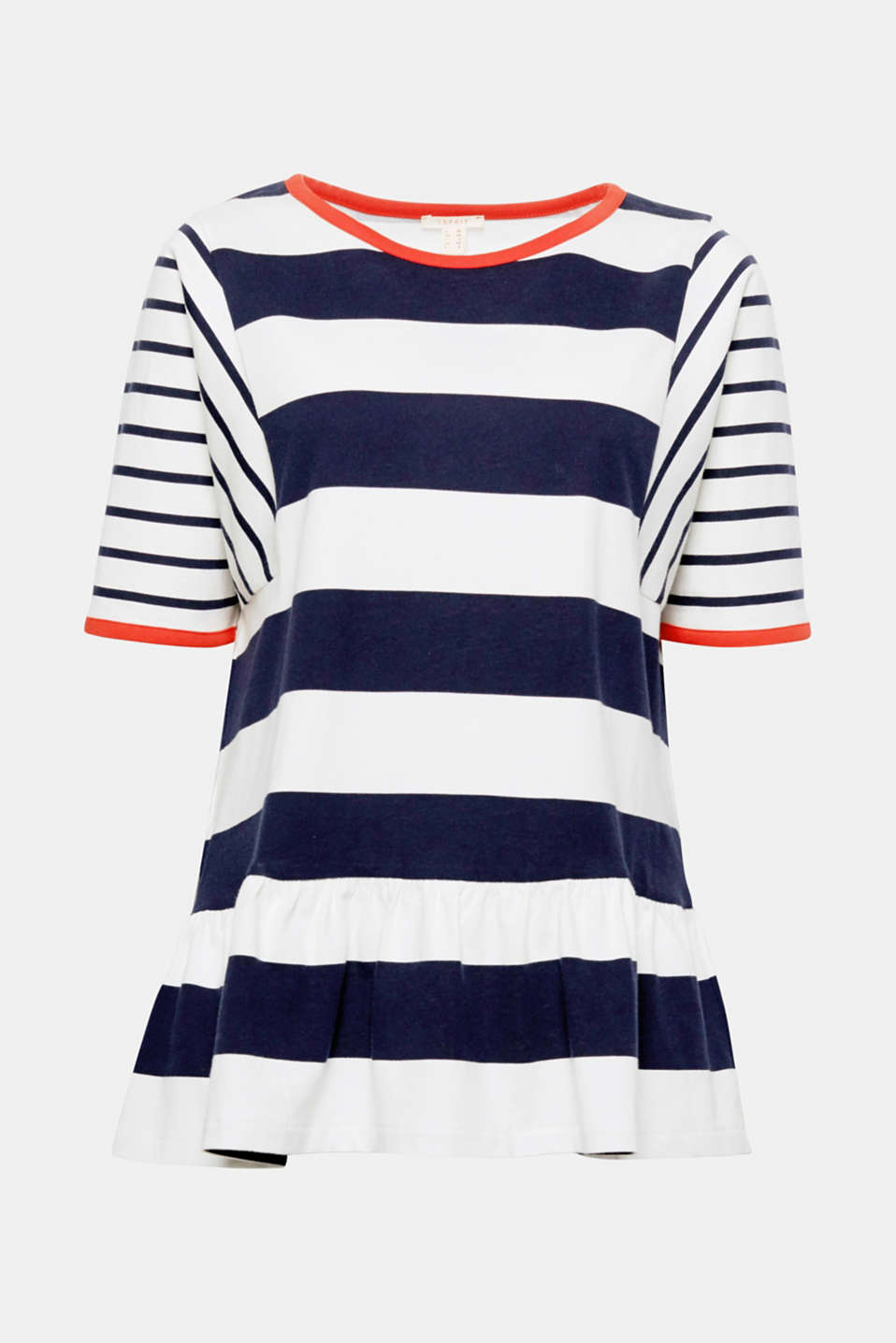 The modern mix of stripes, wide oversized form and the set-in peplum give this oversized top its individual look!
