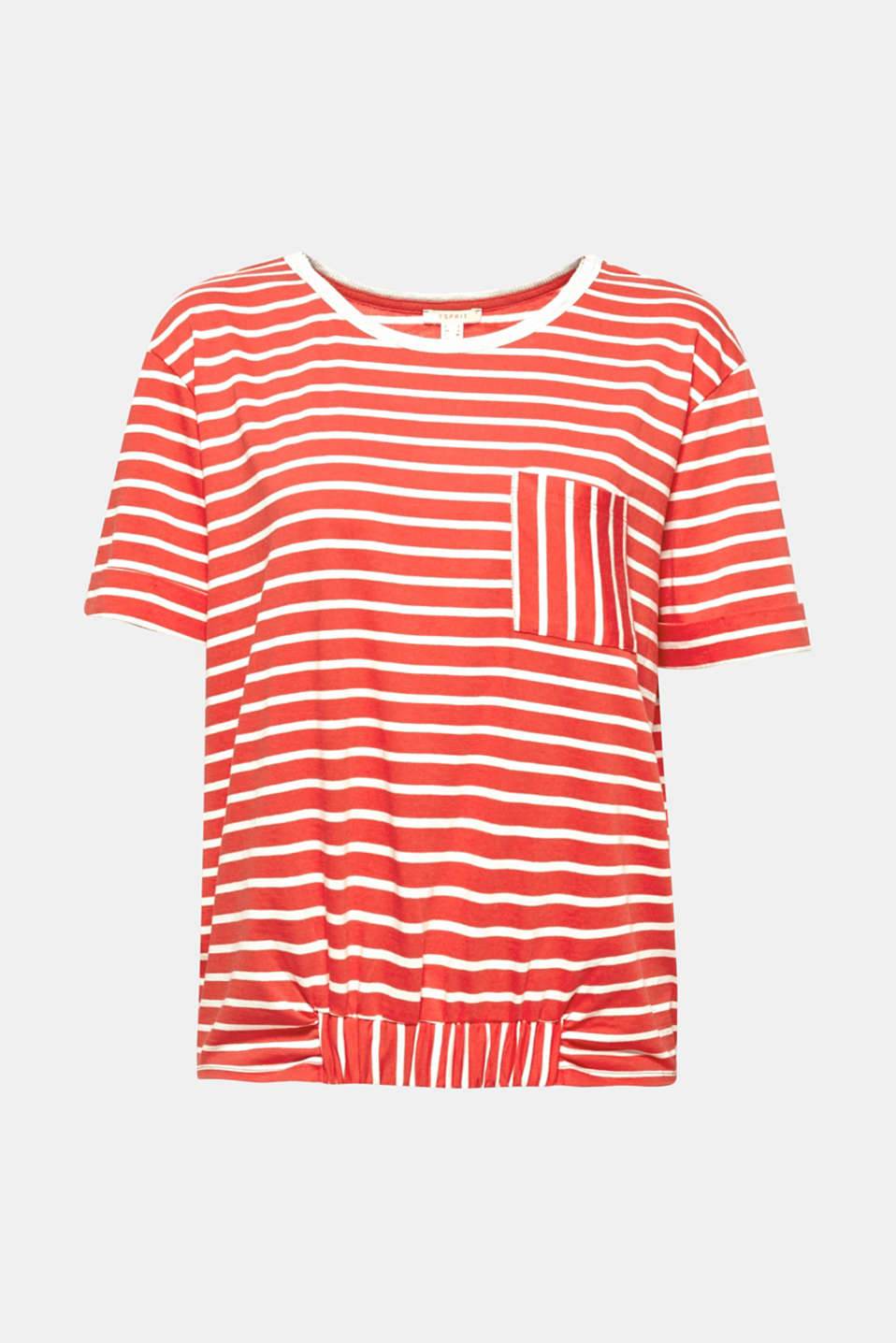 Freshening up our favourite stripes: this casually cut, comfortably soft top with elasticated details at the centre of the front hem and patch breast pocket!