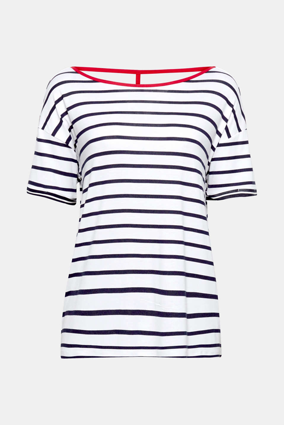 Striped T-shirt with a surprise: The neckline trim and back strap come in a contrasting colour!
