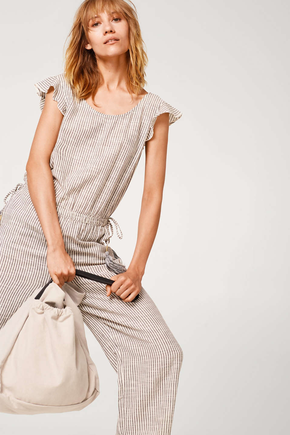 Esprit - Jumpsuit with frills and tassels, 100% cotton