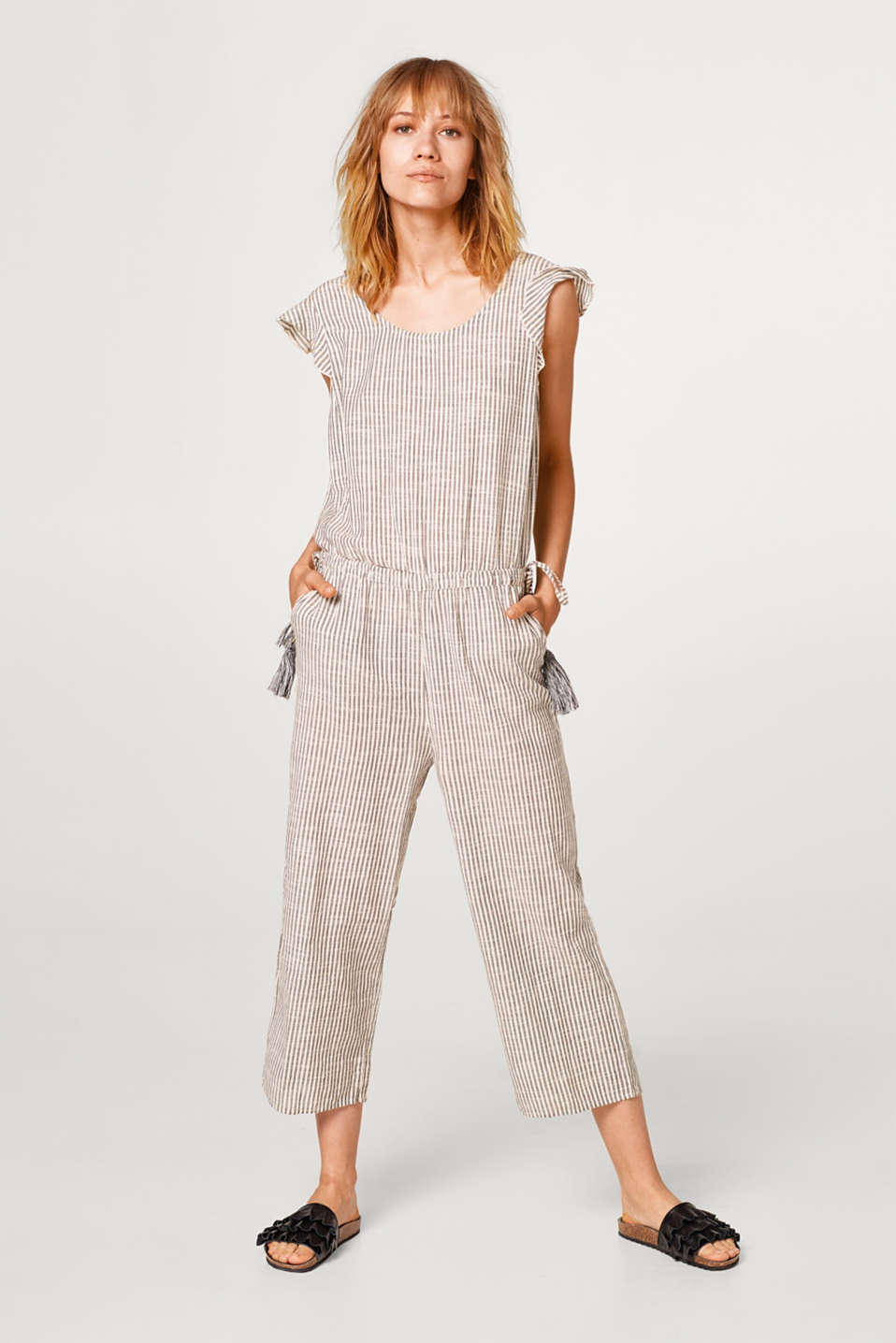 Jumpsuit with frills and tassels, 100% cotton