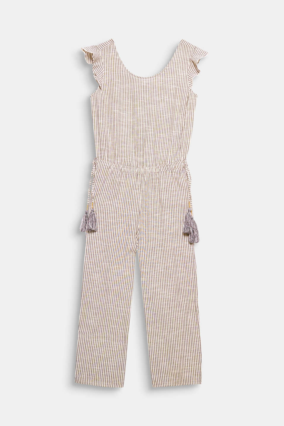 This light and airy jumpsuit will put you in a summery mood with its fashionable stripes, frill-trimmed arm openings and decorative tassels!
