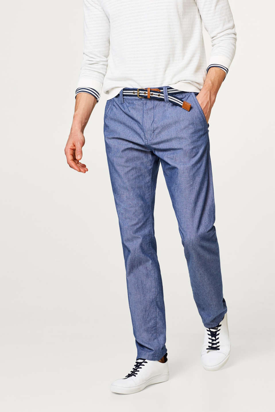 Esprit - Lightweight chambray trousers made of pure cotton