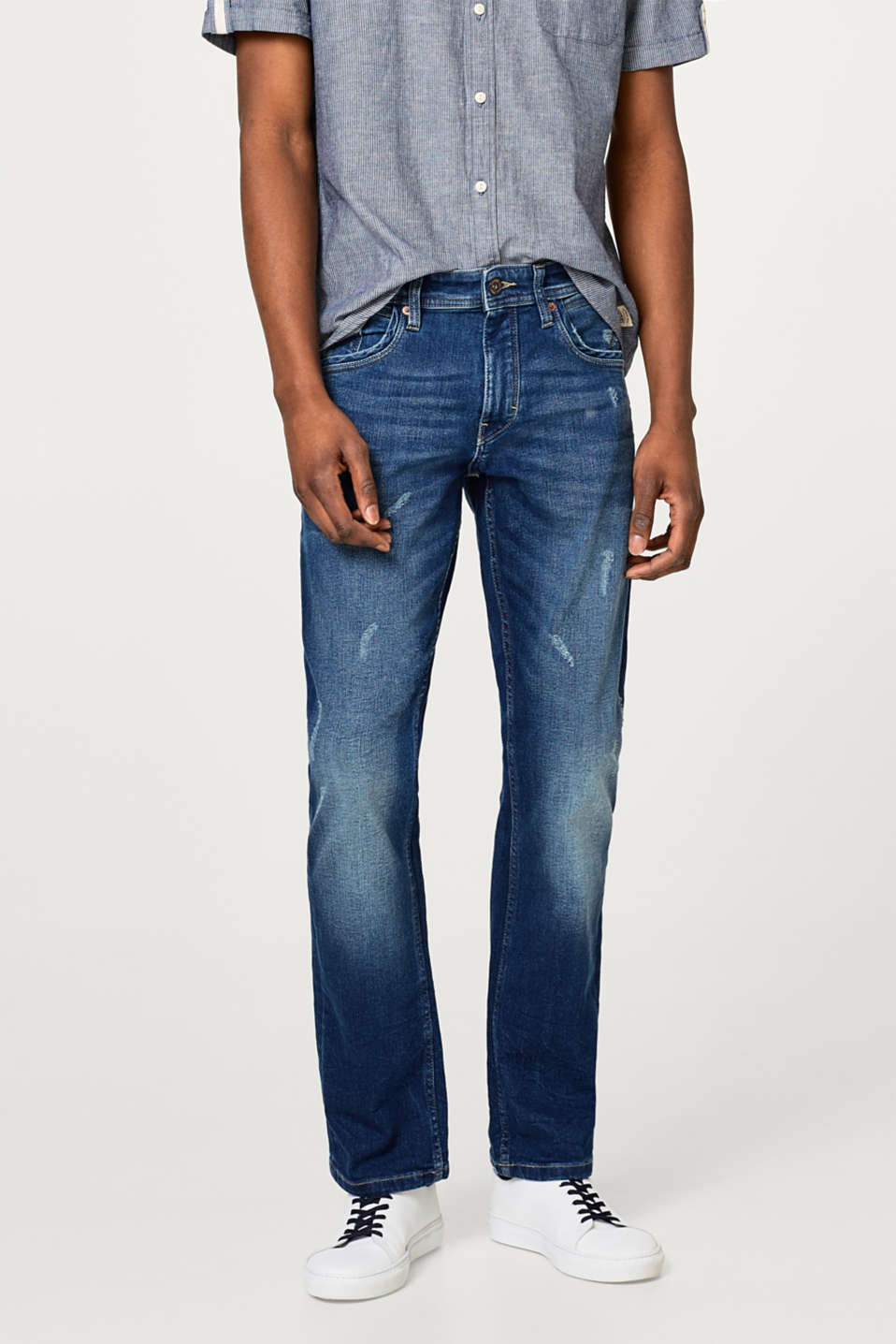 Esprit - Stretch jeans with slight vintage effects