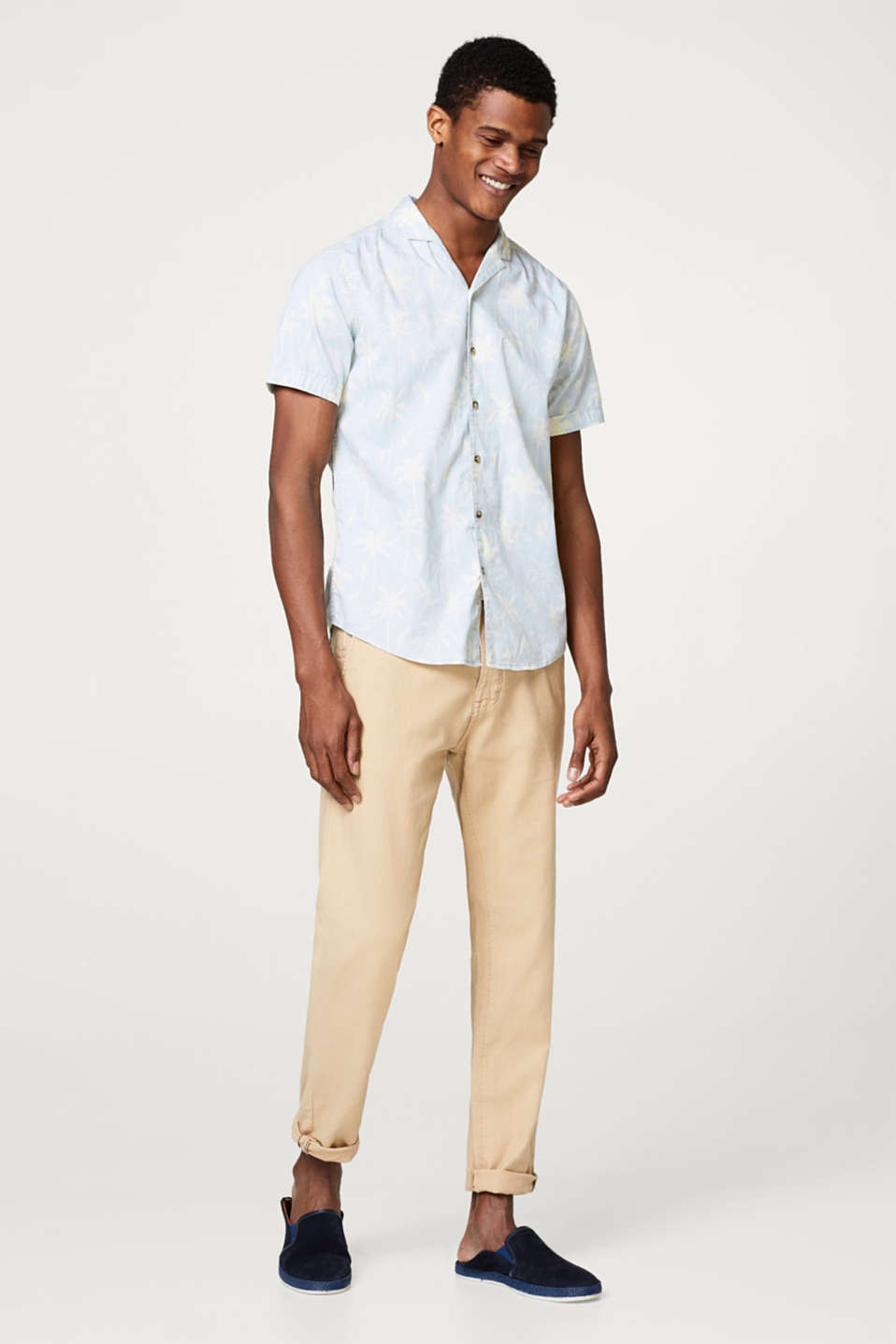 Loose trousers with braided belt, in blended linen